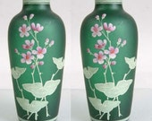 Emerald 19th Century Floral Bohemian Enameled Art Glass Vases