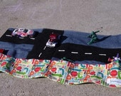 Car Activity Mat for Busy Kids on the Go in Michael Miller Toot Toot Fabric - Ready to Ship