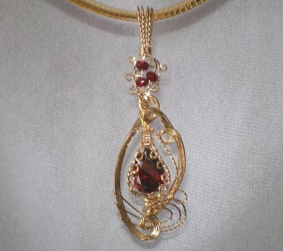 17ct Garnet Pear Cut CZ 14K Yellow Gold GF OOAK Pendant