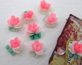 Vintage Flower Cabochons Pink White Roses Plastic Bright Painted Japan 7mm pcb0151 (8)