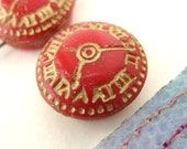 Reserved for Jessie. Vintage Glass Beads. Red Gold Clocks, Two Holes, Czech 1940s, 18mm vgb0188 (2)