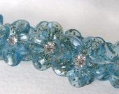 Vintage Rhinestone Buttons Flower Blue Glitter Tinsel Shank Austria 1950s but0080 (6)