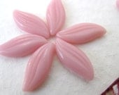 Vintage Glass Cabochon. Rose Pink Leaves or Petals, 12x5mm gcb0181 (15)