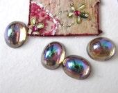 Vintage Glass Cabochons, Amethyst Aurora Borealis AB 10x8mm gcb0210 (8)