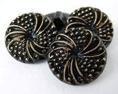 Vintage Buttons Glass Gold on Black Dot Swirl Czech 18mm but0144 (4)