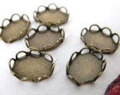 Cameo Settings Lace Edge Filigree Antiqued Brass Ox 8x6mm Cabochons set0086 (6)