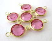 Vintage Bead Swarovski Rose Pink Rhinestone Charm Connector Link vgb0392 (6)