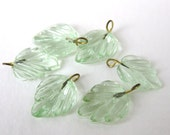 Reserved for Erin. vgb0420x3 Vintage Glass Leaf Bead Drops Peridot Green Embedded Wire Leaves 15mm vgb0420 (6)