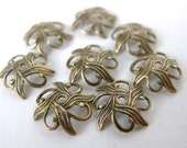 Antiqued Brass Filigree Nouveau Flower Bead Cap Brass Ox Vintage Style 10mm bcp0008 (8)