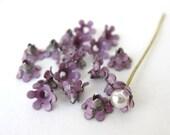 Bead Cap Vintage Flower Purple Enamel Metal Finding 5mm vfd0189 (18)