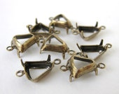 Bell Antiqued Brass Prong Rhinestone Setting Open 2 Ring 8mm set0144 (8)