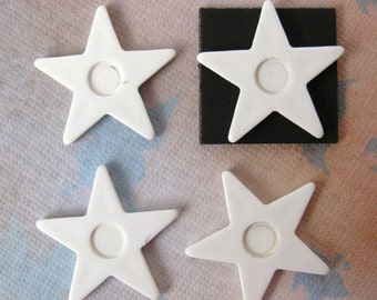 Vintage Cabochon White Star Plastic Setting 25mm pcb0069 (4)