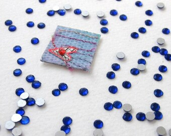 Vintage Rhinestones Deep Sapphire Blue Flat Foiled Back 16ss 4mm rhm0005 (100)