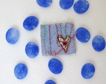 Vintage Japanese Glass Cabochon, Cornflower Blue Carved Flowers, 12x10mm gcb0046 (8)