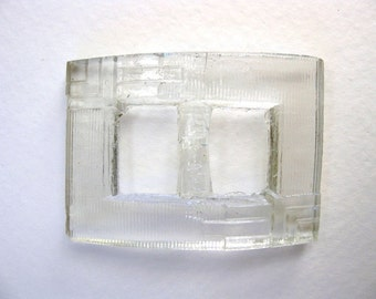 Vintage Antique Trim. Clear Glass Buckle, Deco, Czech, 1930s, 50x35mm vfd0047 (1)