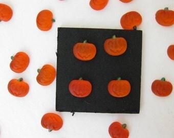 Vintage Glass Cabochon Rhinestone Orange Pumpkins Halloween Jack O Lanterns 7mm gcb0053 (12)