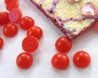 Vintage Glass Cabochons. French Tiny Deep Coral Rounds, 3mm gcb0090 (25)