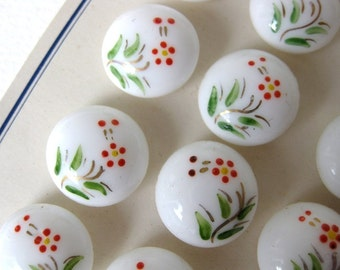 Vintage Buttons Glass Painted Flowers White Shank 18mm but0102 (4)