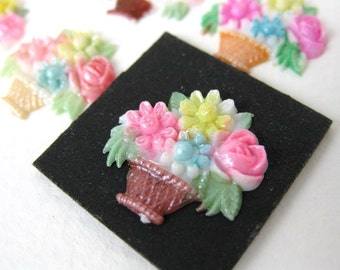 Vintage Plastic Cabochon, Flower Basket, Japan, Hand painted, 17x16mm pcb0103 (6)