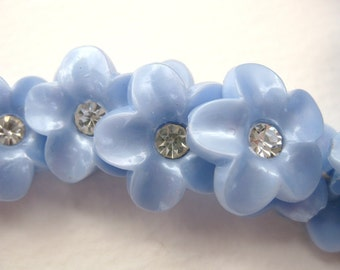 Vintage Buttons Rhinestone Flower Blue Pearl Sapphire Shank Austria 1950s but0081 (6)