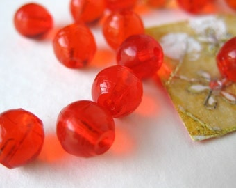 Vintage Glass Beads, Juicy Orange Transparent Rounds, 6mm to 7mm vgb0165 (25)