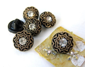 Vintage Glass Rhinestone Buttons. Gold Crystal Black, Shank, West Germany 10mm but0118 (6)