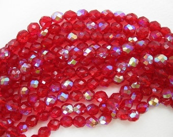 Vintage Glass Beads, Ruby Red Faceted AB Aurora Borealis 8mm vgb0174 (18)