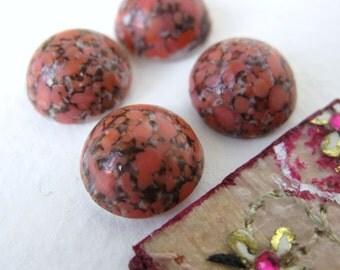 Vintage Glass Cabochons. Coral Rose Matrix Bohemia 11mm Rounds gcb0295 (4)