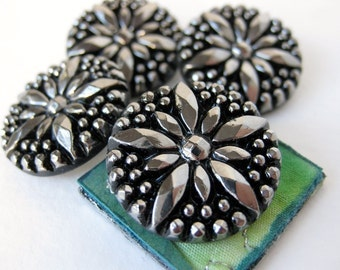 Vintage Glass Buttons. Silver Star, Black Faceted Starburst, West Germany, 7/8 inch 22mm but0115pc2 (2)
