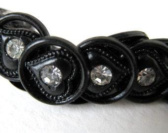 Vintage Rhinestone Buttons, Black Hearts, Plastic Shank, Austria 1950s, but0084 (6)