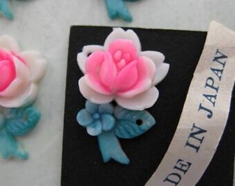 Vintage Rose Flower Cabochon Charm Pink Painted Plastic Japan 20mm pcb0054 (4)