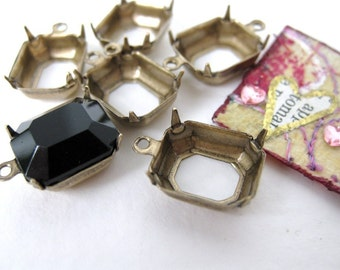 Brass Prong Setting Rhinestone Antiqued Octagon 1 Ring 12x10mm Vintage Style set0044 (6)