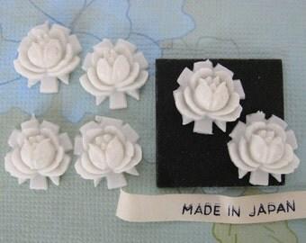 Vintage Plastic Cabochon, White Roses, Japan, 15mm pcb0105 (6)