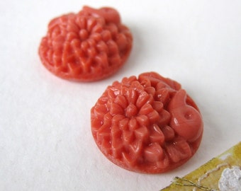 Vintage Flower Cabochon Coral Glass Carved Round Japan 18mm gcb0318 (2)