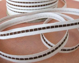Vintage Trim. White Brown Insertion Ribbon, Cotton, 1/2 inch, 1940s rib0073 (2 yards)