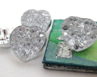 Vintage Glass Button. Crystal Heart Reflector Mirrored, Bumpy Bubble, 13mm Czech but0146 (4)