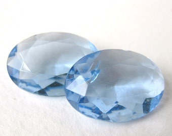 Vintage Glass Rhinestone Jewel. Light Sapphire Oval Transparent 18x13mm rhs0183 (2)