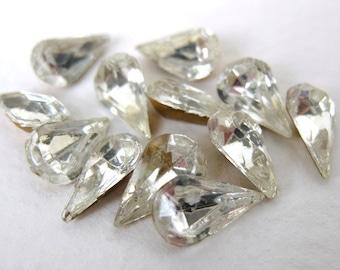 Vintage Jewels Rhinestone Crystal Glass Teardrop Pear Czech 10x6mm rhs0206 (12)