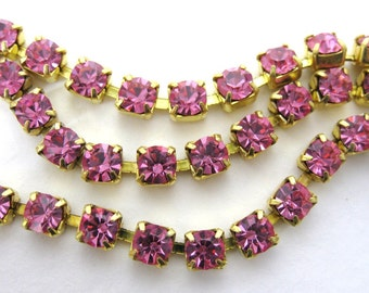 Vintage Rhinestone Chain Rose Pink Swarovski Crystal Brass Prong Setting 4mm chn0070 (1 foot)