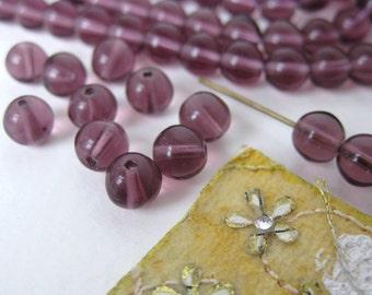 Vintage Beads. Amethyst Glass Rounds Transparent Purple 6mm vgb0356 (30)
