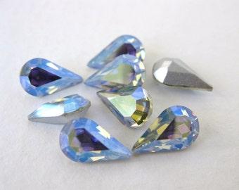 Vintage Swarovski Rhinestone Lavender AB Pear Crystal Teardrop Jewel 10x6mm swa0726 (8)
