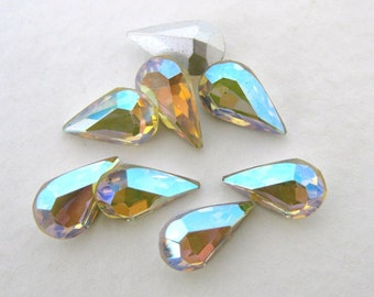 Vintage Crystal Rhinestone Swarovski Jonquil AB Teardrop Jewel 10x6mm swa0150 (8)