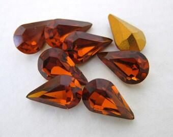Vintage Rhinestone Swarovski Crystal Madeira Topaz Teardrop Jewel 10x6mm swa0145 (8)