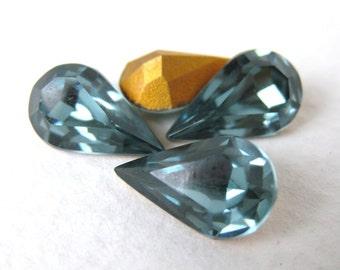 Vintage Swarovski Rhinestone Indian Sapphire Pear Teardrop Jewel 13x8mm swa0171 (4)