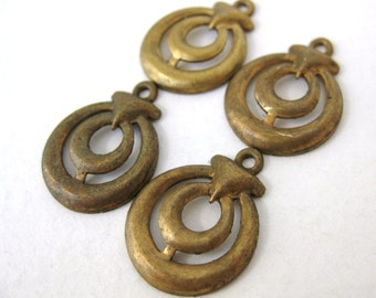 Vintage Brass Stamping Drop Charm Pendant Finding Round 21mm vfd0180 (4)