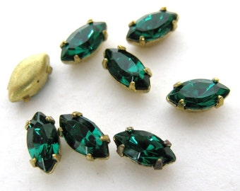 Vintage Rhinestone Swarovski Crystal Emerald Navette Brass Setting No Loop or Ring 6x3mm swa0206 (10)