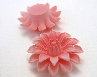 Vintage Flower Cabochon Pink Dahlia Lucite Plastic 25mm pcb0196 (2)