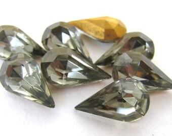 Vintage Rhinestone Black Diamond Teardrop Glass Jewel Pear 13x8mm rhs0240 (8)