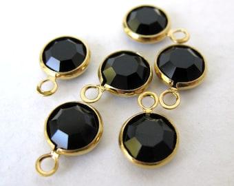 Vintage Bead Drop Swarovski Rhinestone Crystal Charm Jet Black Gold Plate vgb0418 (6)