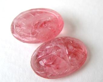 Vintage Glass Cabochon Rose Pink Quartz Scarab 18x13mm gcb0568 (2)